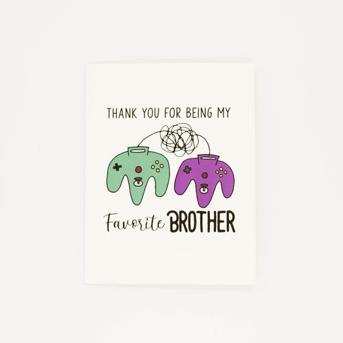 Favorite Brother - Thank You Greeting Card-Greeting Cards-Grateful Paperie