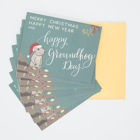 Happy Groundhog Day! - Set of 8 Greeting Cards & Envelopes