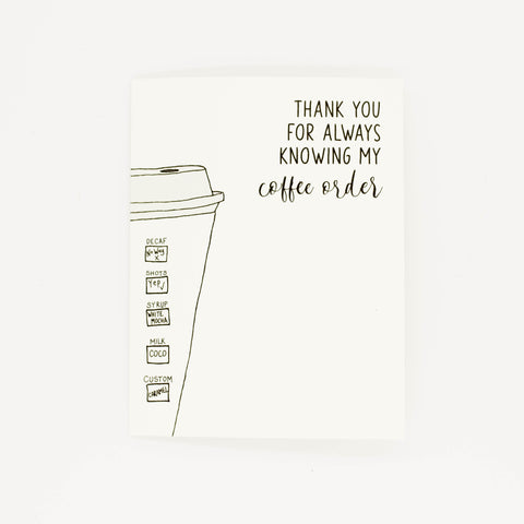 Coffee Order - Thank You Greeting Card