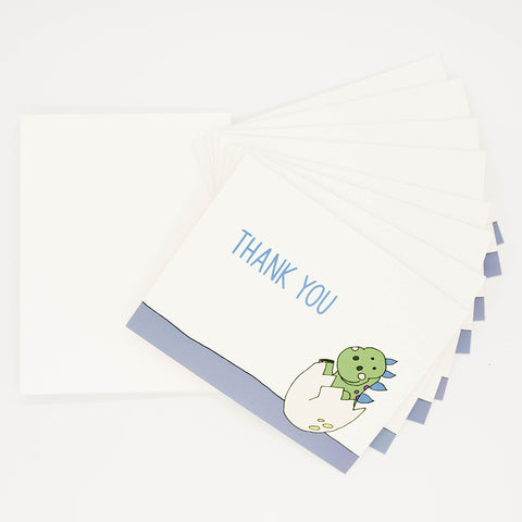 Dinosaur Baby Shower - Set of 8 Greeting Cards & Envelopes