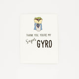 Super Gyro Hero - Thank You Greeting Card-Greeting Cards-Grateful Paperie