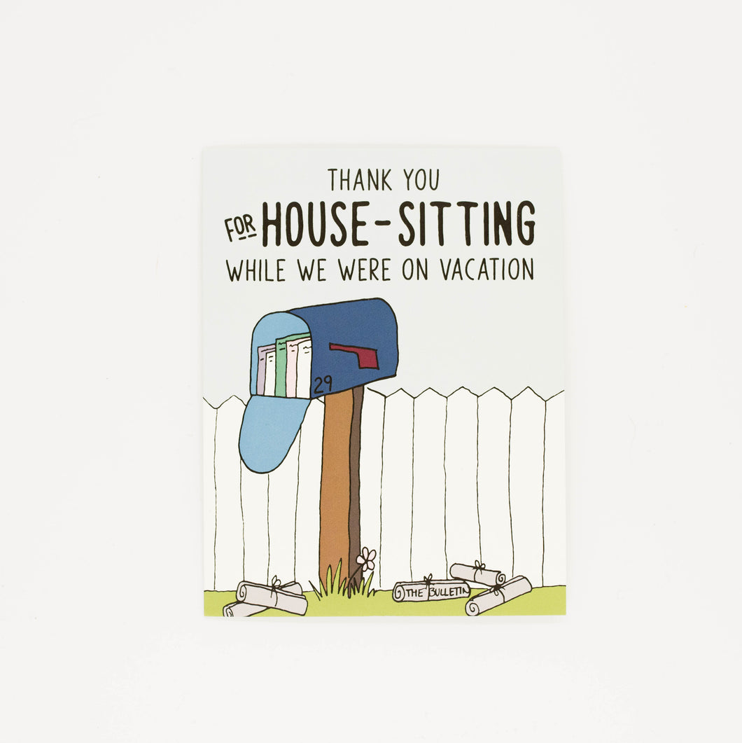 House Sitting - Thank You Greeting Card-Greeting Cards-Grateful Paperie