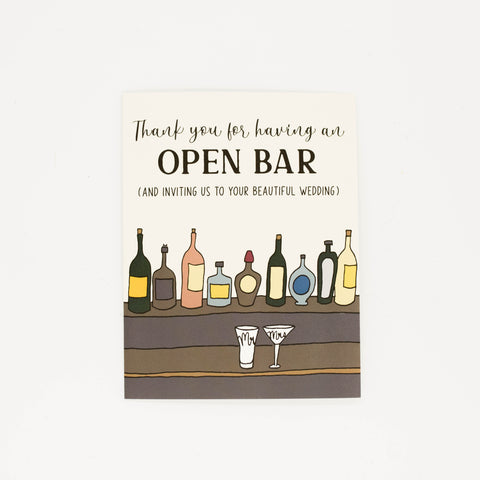 Open Bar - Thank You Greeting Card