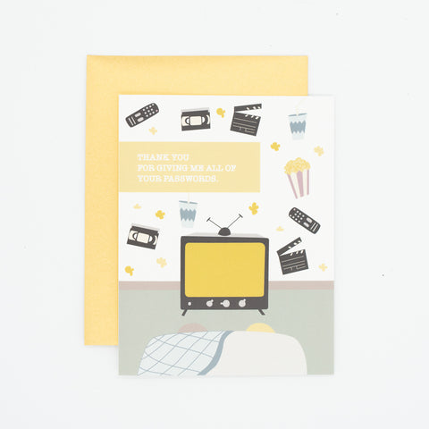 Passwords - - Thank You Greeting Card
