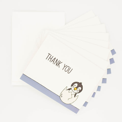 Penguin Baby Shower - Set of 8 Greeting Cards & Envelopes