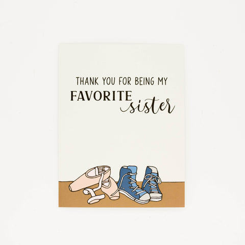 Favorite Sister - Thank You Greeting Card-Greeting Cards-Grateful Paperie