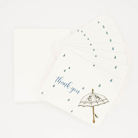 Umbrella Wedding Shower - Set of 8 Greeting Cards & Envelopes