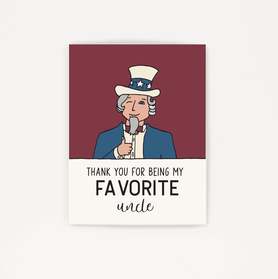 Favorite Uncle - Thank You Greeting Card for Uncle