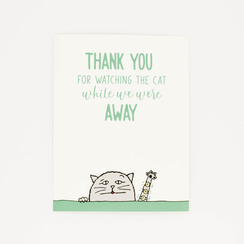 Watching The Cat - Thank You Greeting Card-Greeting Cards-Grateful Paperie