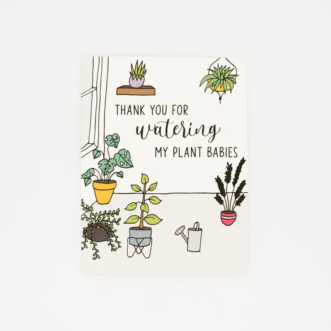 Watering My Plants - Thank You Greeting Card-Greeting Cards-Grateful Paperie