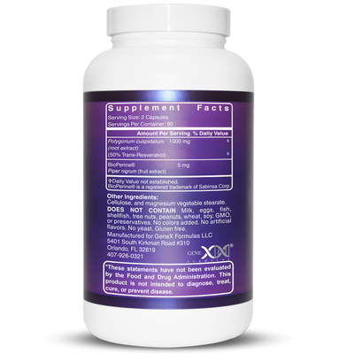 Genex Formulas Resveratrol 1000mg Supplement Facts Panel