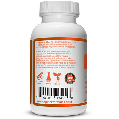 Genex Vitamin C 1000mg with Rose Hips | No Fillers | Vegan Friendly | GMO and Gluten Free