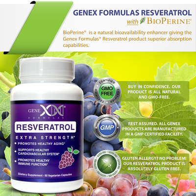 Resveratrol Capsules GMO GREE, Made in a GMP Certified Facility, Glutton Free