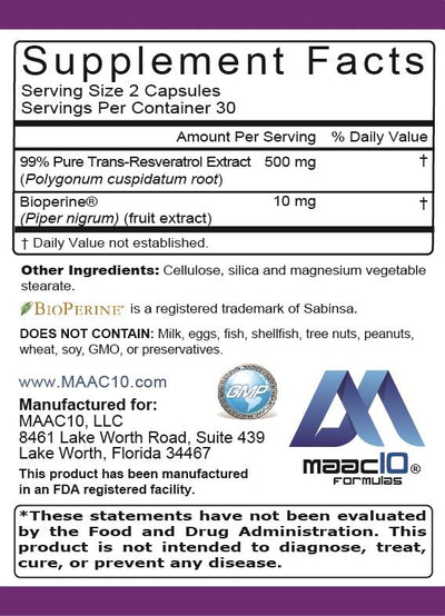 MAAC10 TRANS RESVERATROL 500MG VERY HIGH POTENCY FORMULATION (99% PURIFIED MICRONIZED TRANS-RESVERATROL EXTRACT + BIOPERINE)