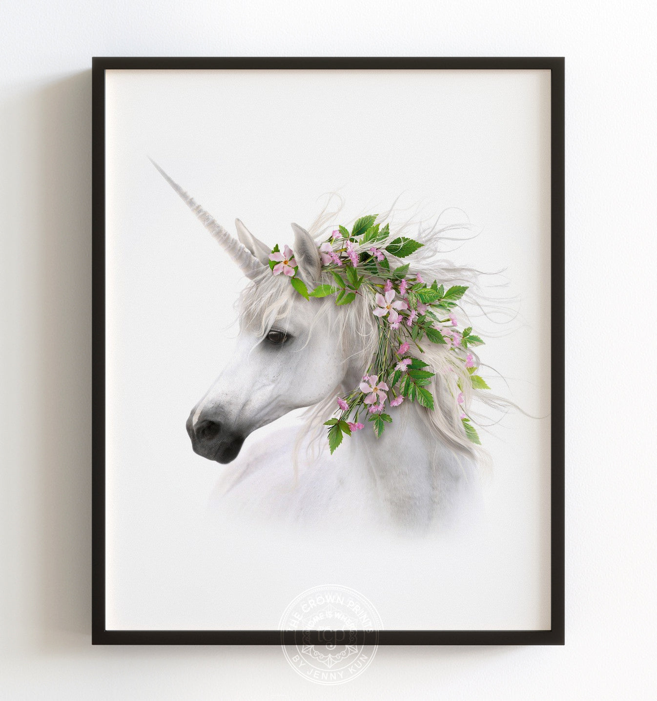 Unicorn with Flower Crown Vignette Printable Art