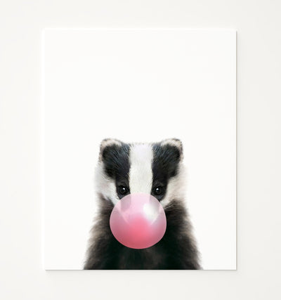 Baby Badger with Pink Bubblegum Printable Art