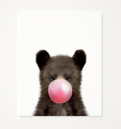 Baby Black Bear with Pink Bubblegum Printable Art