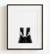 Baby Badger Black and White Printable Art
