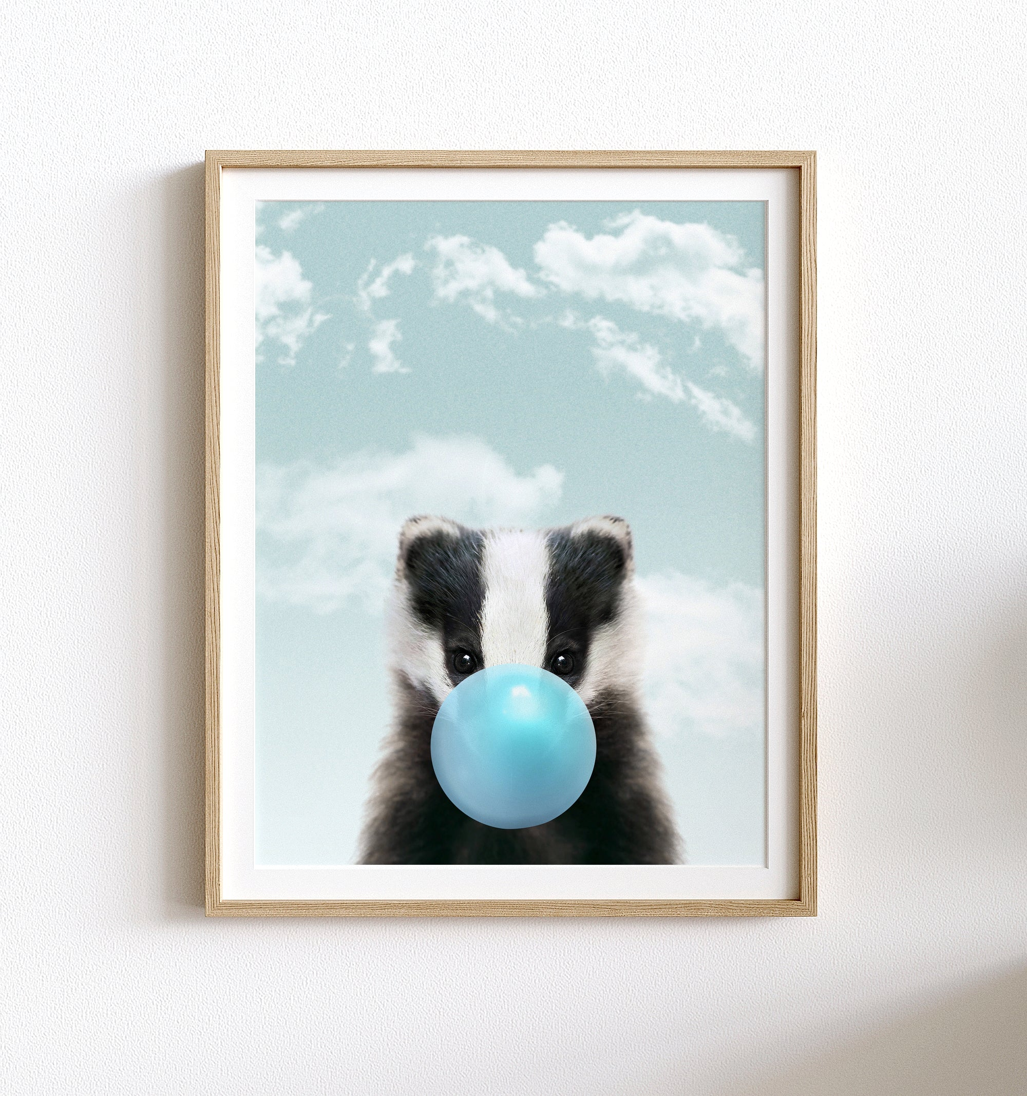 Baby Badger with Blue Bubblegum and Blue Sky Printable Art