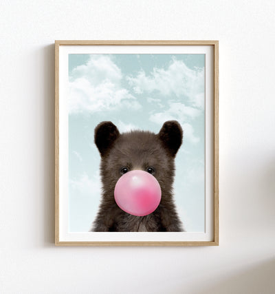 Baby Black Bear with Pink Bubblegum and Blue Sky Printable Art