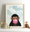 Baby Chimpanzee with Blue Bubblegum and Blue Sky Printable Art