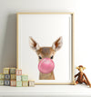 Baby Deer with Pink Bubblegum Printable Art