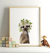 Baby Meerkat with Flower Crown Printable Art