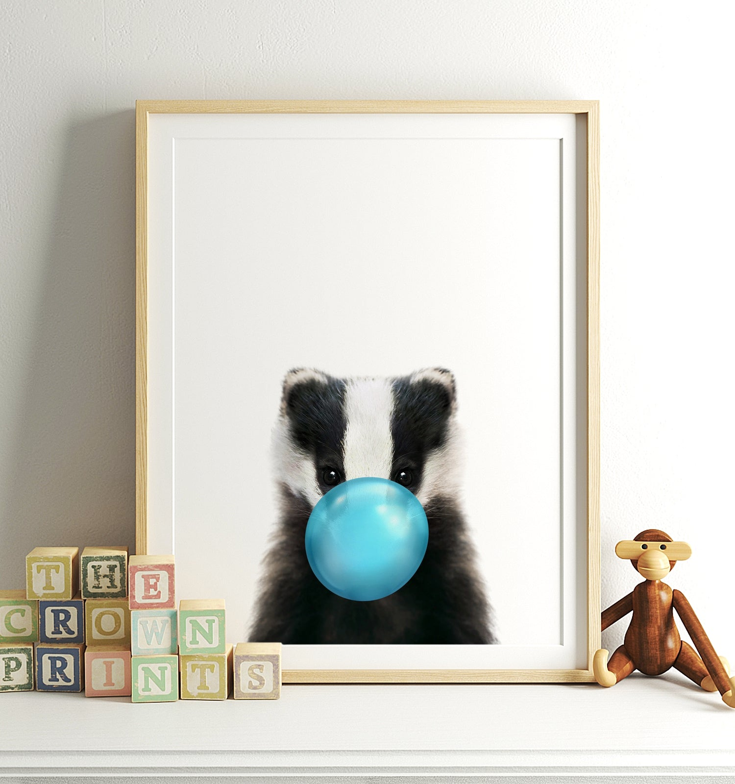 Baby Badger with Blue Bubblegum Printable Art