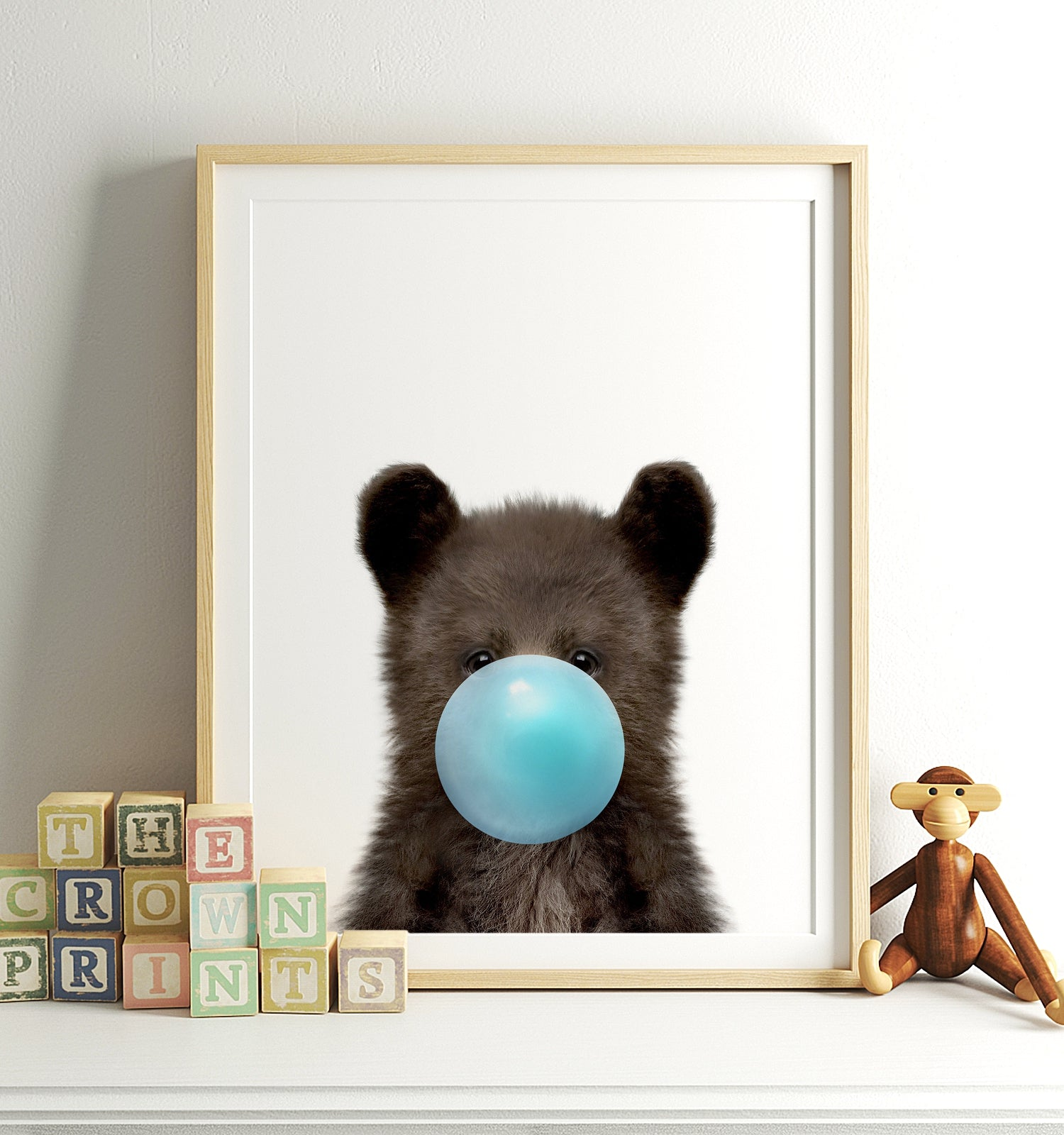 Baby Black Bear with Blue Bubblegum Printable Art