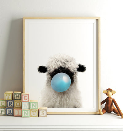Baby Blacknose Sheep with Blue Bubblegum Printable Art