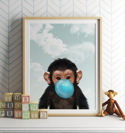 Baby Chimpanzee with Bubblegum and Blue Sky Printable Art