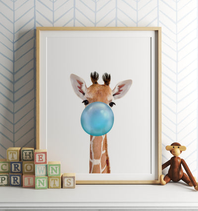Baby Giraffe with Blue Bubblegum Printable Art