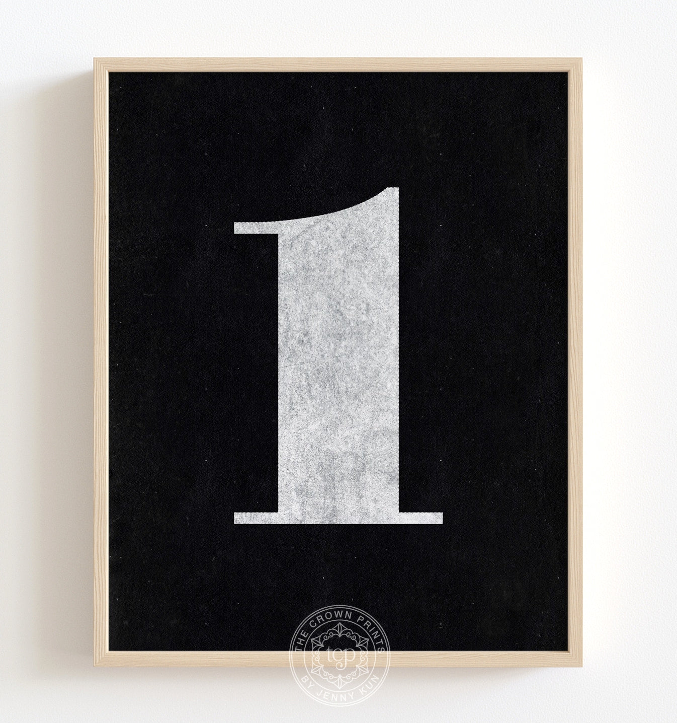Number One - White on Black Printable Art