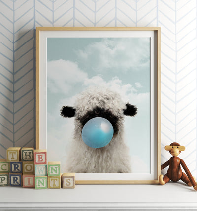 Baby Blacknose Sheep with Blue Bubblegum and Blue Sky Printable Art