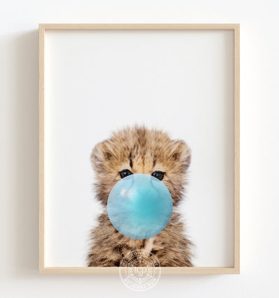 Baby Cheetah with Blue Bubblegum Printable Art
