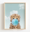 Baby Cheetah with Blue Bubblegum and Blue Sky Printable Art