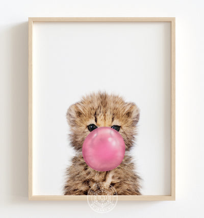 Baby Cheetah with Pink Bubblegum Printable Art