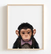 Baby Chimpanzee with Bow Tie Printable Art