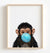 Baby Chimpanzee with Blue Bubblegum Printable Art