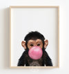 Baby Chimpanzee with Pink Bubblegum Printable Art
