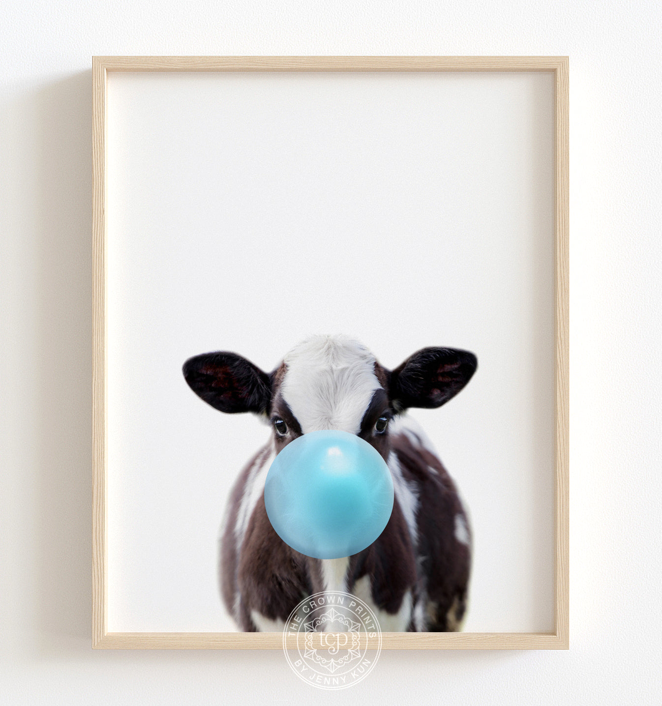 Baby Cow with Blue Bubblegum Printable Art
