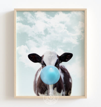 Baby Cow with Blue Bubblegum and Blue Sky Printable Art