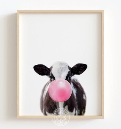 Baby Cow with Pink Bubblegum Printable Art