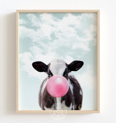 Baby Cow with Pink Bubblegum and Blue Sky Printable Art