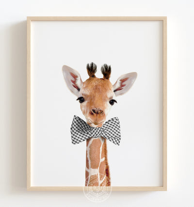 Baby Giraffe with Bow Tie Printable Art