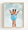 Baby Giraffe with Blue Bubblegum and Blue Sky Printable Art