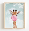 Baby Giraffe with Pink Bubblegum and Blue Sky Printable Art
