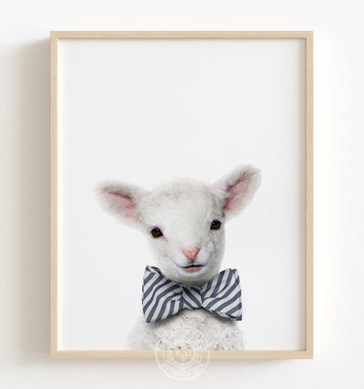 Baby Lamb with Bow Tie Printable Art