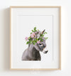 Baby Donkey with Flower Crown Printable Art
