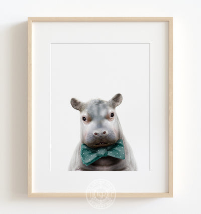 Baby Hippo with Bow Tie Printable Art
